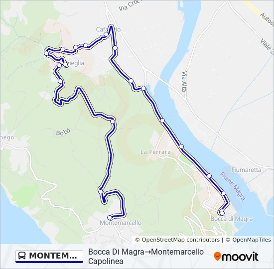 Lerici Italy Map.Montemarcello Route Time Schedules Stops Maps Lerici Comune