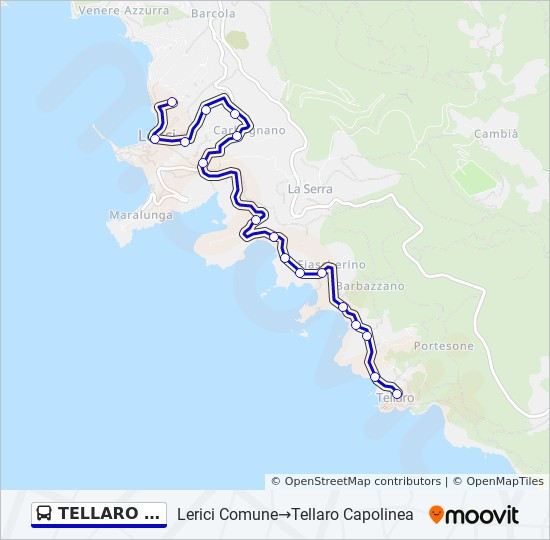 Lerici Italy Map.Tellaro Capolinea Route Time Schedules Stops Maps Lerici
