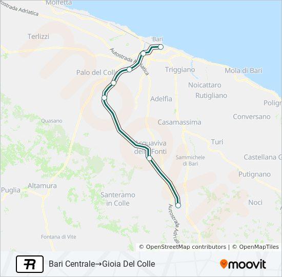 Cartina Puglia Gioia Del Colle.Linea R Orari Fermate E Mappe Bari Centrale Gioia Del