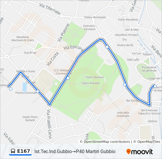 E167 Route Time Schedules Stops Maps P 40 Martiri Gubbio