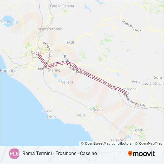 Map Of Italy With Train Routes.Fl6 Route Time Schedules Stops Maps Cassino