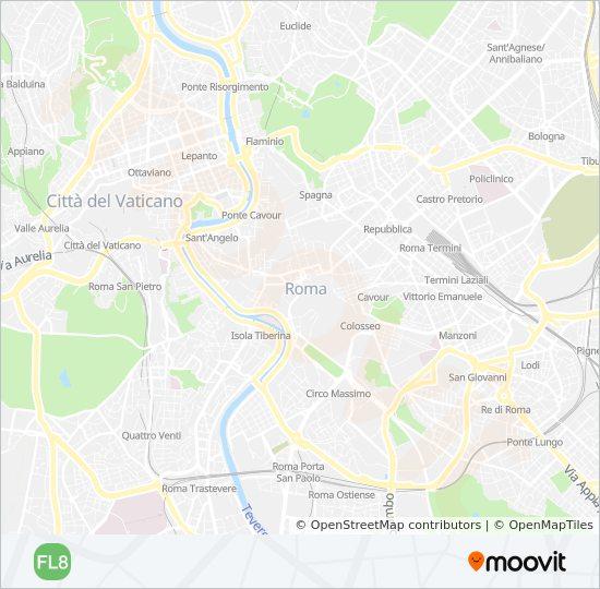 Plan de la ligne FL8 de train