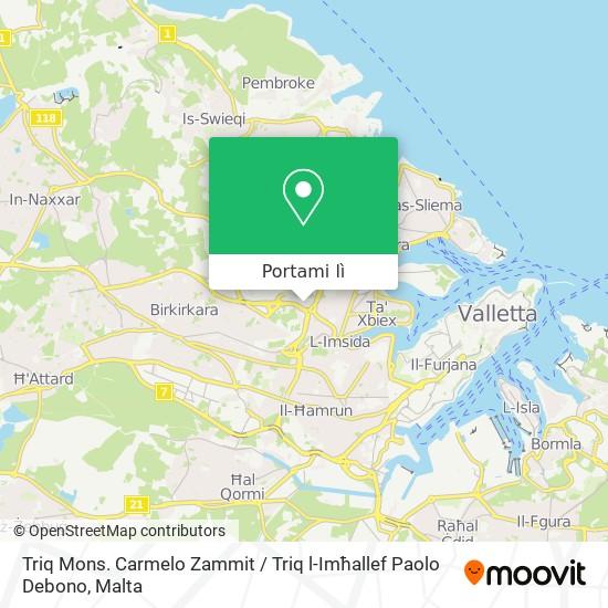 Mappa Triq Mons. Carmelo Zammit / Triq l-Imħallef Paolo Debono