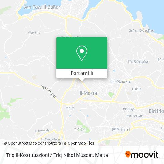 Mappa Triq il-Kostituzzjoni / Triq Nikol Musċat