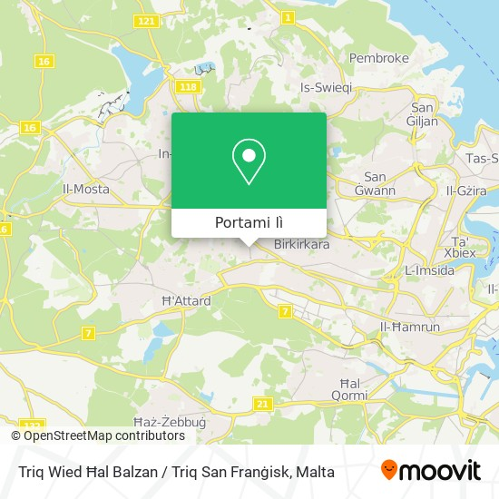 Mappa Triq Wied Ħal Balzan / Triq San Franġisk
