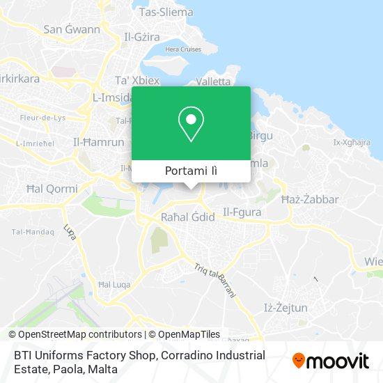 Mappa BTI Uniforms Factory Shop, Corradino Industrial Estate, Paola