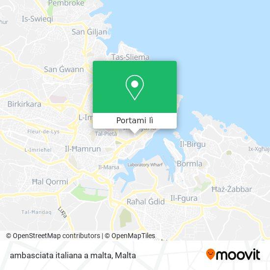 Mappa ambasciata italiana a malta