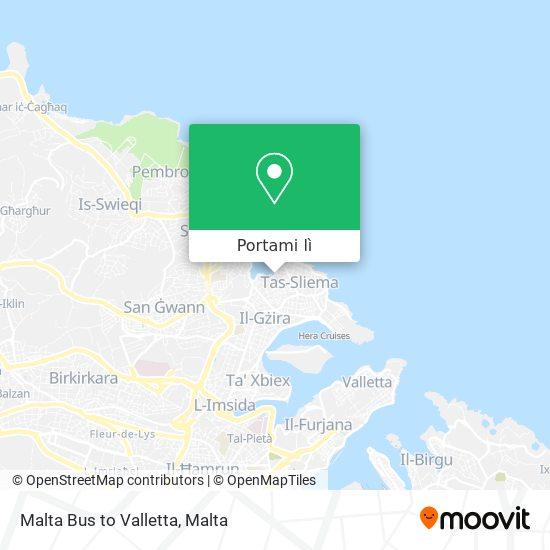 Mappa Malta Bus to Valletta