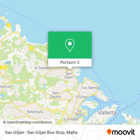 Mappa San Giljan - San Giljan Bus Stop