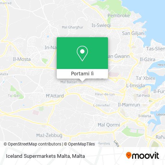 Mappa Iceland Supermarkets Malta
