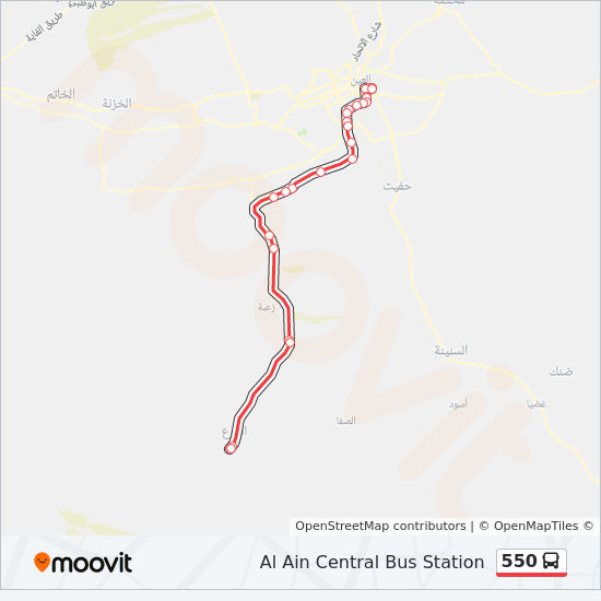 550 Route: Time Schedules, Stops & Maps - Al Ain Central Bus