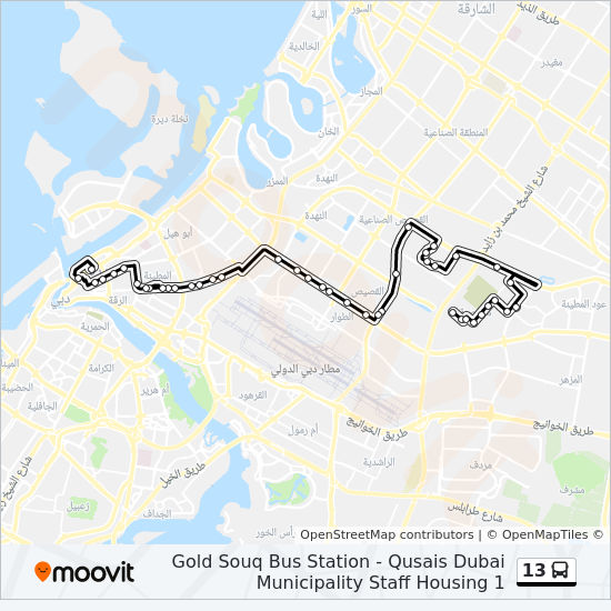 13 Route: Time Schedules, Stops & Maps - Gold Souq Bus Station