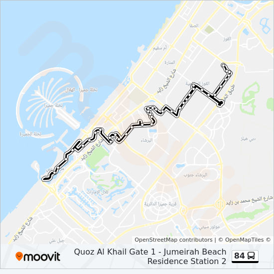 84 Route: Time Schedules, Stops & Maps - Jumeirah Beach