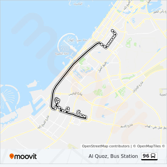 96 Route: Time Schedules, Stops & Maps - Al Quoz, Bus Station