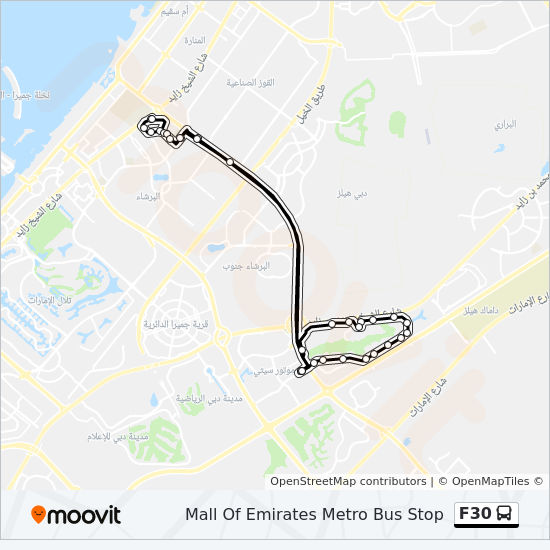 F30 Route: Time Schedules, Stops & Maps - Mall Of Emirates Metro Bus ...