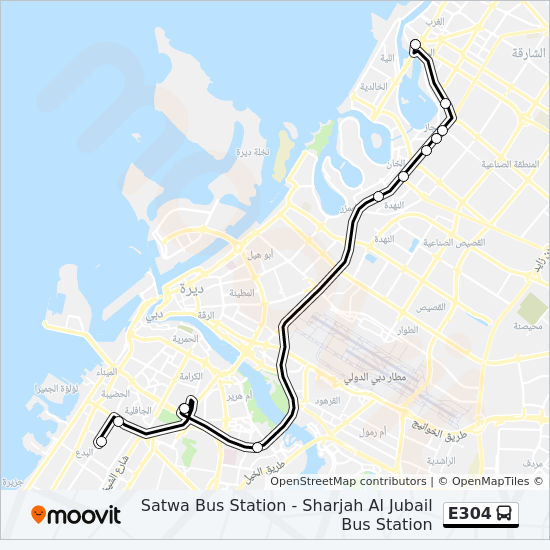 E304 Route: Time Schedules, Stops & Maps - Satwa, Bus Station