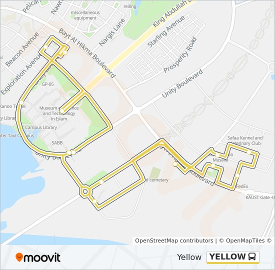 YELLOW bus Line Map