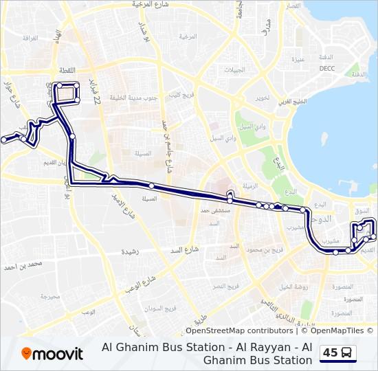 45 Rute Koreplaner Stoppesteder Kort Wajbit Al Alseel Stop 1
