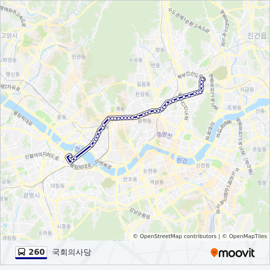 260 bus Line Map