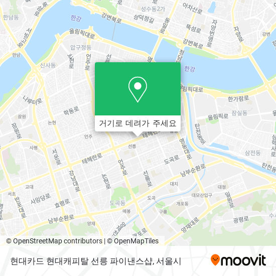 현대카드 현대캐피탈 선릉 파이낸스샵 지도