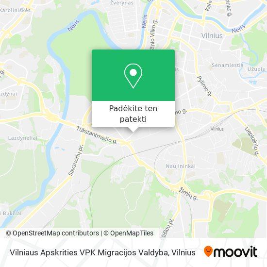 Vilniaus Apskrities VPK Migracijos Valdyba žemėlapis
