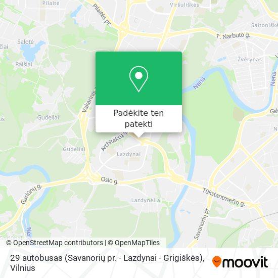 29 autobusas (Savanorių pr. - Lazdynai - Grigiškės) žemėlapis