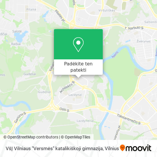 """VšĮ Vilniaus """"Versmės"""" katalikiškoji gimnazija žemėlapis"""