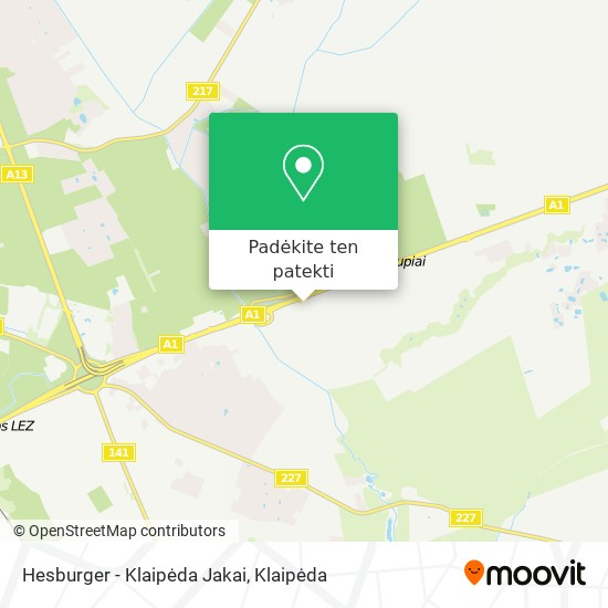 Hesburger - Klaipėda Jakai žemėlapis